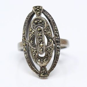 Jewelry - ART DECO STYLE VTG 925 Elongated Marcasite Ring